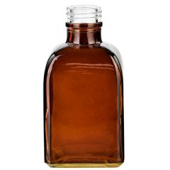 3.4oz rectangular glass bottle dark amber threaded neck - case of 24