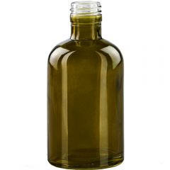 8oz apothecary glass bottle vintage green threaded neck - case of 12