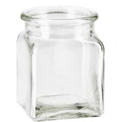 8.5oz square glass jar no cork - case of 12