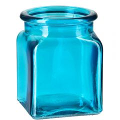 8.5oz square glass jar aqua no cork - case of 12