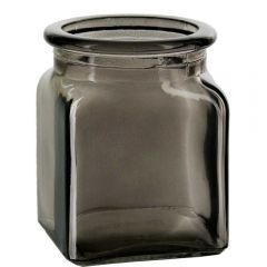 8.5oz square glass jar taupe