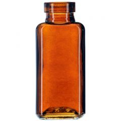 3.4oz quad glass bottle dark amber no cork - case of 12