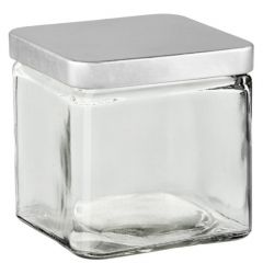 21oz square candle glass container with metal lid - case of 12