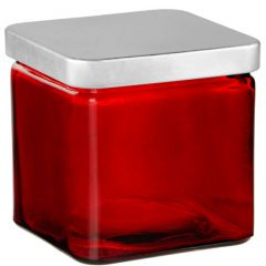 21oz square candle glass container red with metal lid - case of 12