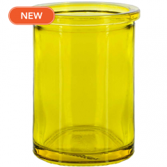 6oz round candle glass container canary yellow - case of 12