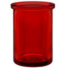 6oz round candle glass container red - case of 12