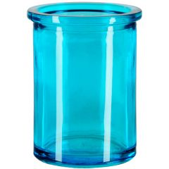 6oz round candle glass container aqua - case of 12