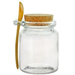 8.5oz glass jar with cork and spoon - case of 12