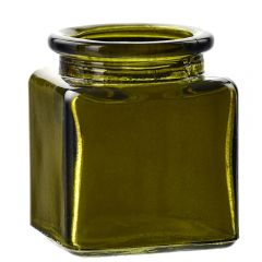 1.4oz square glass jar vintage green
