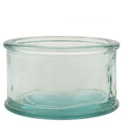 10oz flat round candle recycled glass jar - case of 12