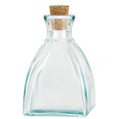6.8oz diamond recycled glass bottle with cork