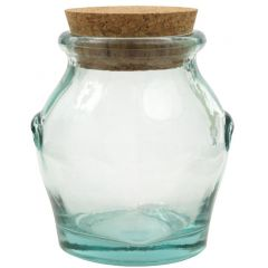 16.9oz honey recycled glass jar with cork