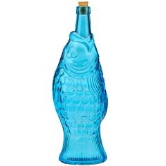 37.2oz fish recycled glass bottle aqua with cork - case of 6