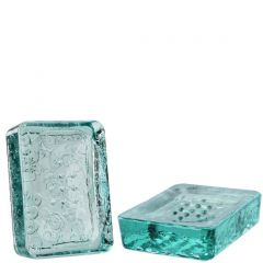 floral recycled glass soap dish - case of 6