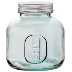 Euro jar recycled glass 350ml. with screw cap - case of 6
