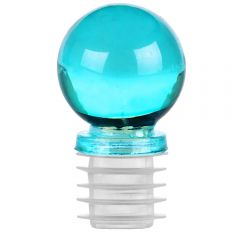 "1 1/4"" ball glass top closure for 3/4"" opening aqua"