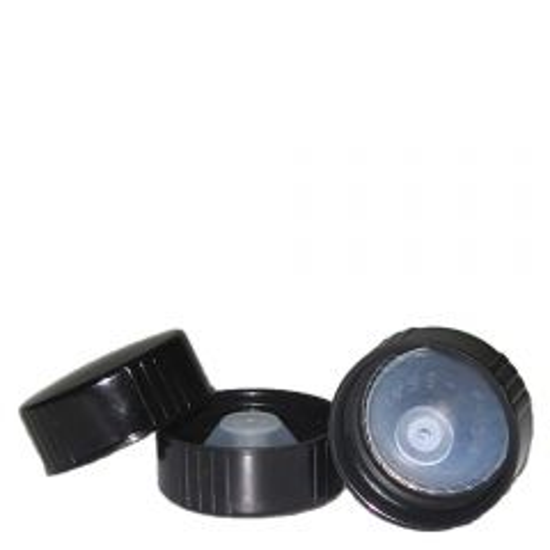plastic phenolic screw cap 28-400 black with polyseal liner