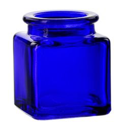1.4oz square glass jar cobalt blue no cork - case of 24