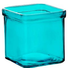 8.5oz square candle glass container aqua - case of 12