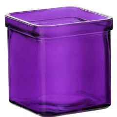 8.5oz square candle glass container violet - case of 12
