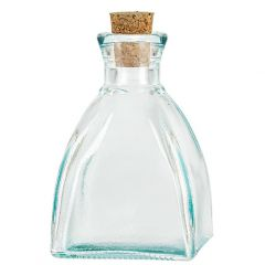 6.8oz diamond recycled glass bottle with cork - case of 24