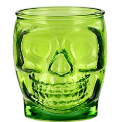 15.2oz Sugar Skull Glass Container Lime - case of 6