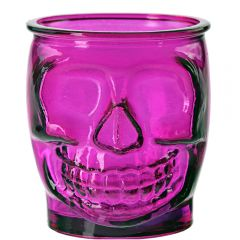 15.2oz Sugar Skull Glass Container Fuchsia - case of 6