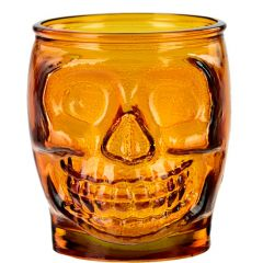 15.2oz Sugar Skull Glass Container Orange - case of 6