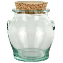8.5oz honey recycled glass jar with cork - case of 6