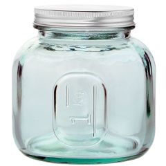 Euro jar recycled glass 1000ml with screw cap