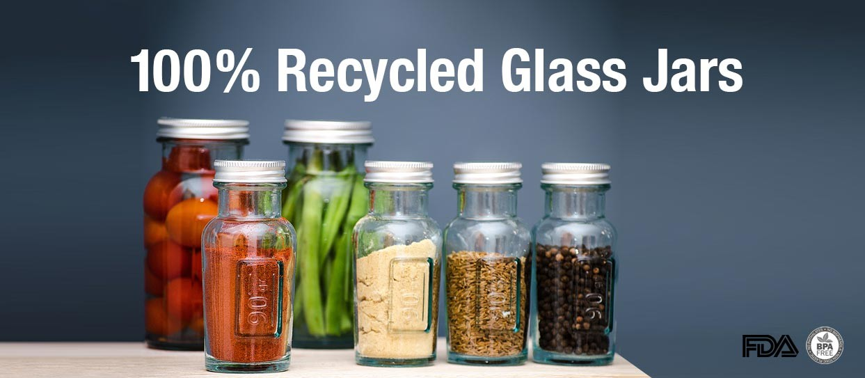 100% Recycled Glass Jars